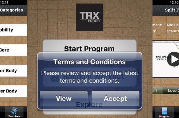 TRX Force mobilní aplikace